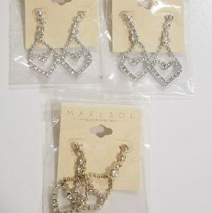 NEW Sparkly heart dangle earrings